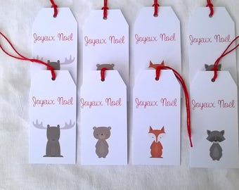 Eight labels Christmas forest animals