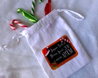 Small gift bag AIDES, Merry Christmas and happy new year 2018 in my home, 15 x 9, 5, personalized label