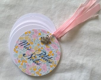 Round Pocket liberty yellow and pink notebook + charm + gift bag