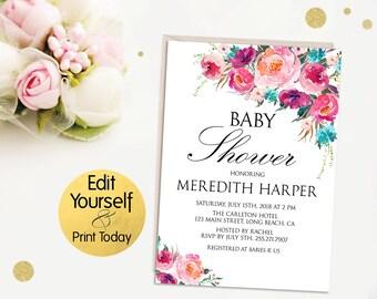 Editable Baby Shower Invitation, Baby Shower Invitation Template, Baby Shower Invitation, Baby Shower Invite, Editable Invitation, Template