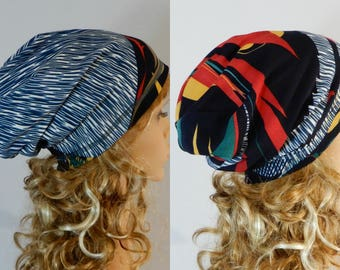 Reversible beanie women Winter-autumn beanie hat Slouchy beanie adult Double sided beanie Jersey beanie hat Hippie hat stretchy from M-L