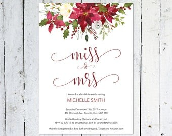 Christmas Bridal Shower Invitation, Miss To Mrs., Winter Bridal Shower Invitation, Burgundy, Maroon, Poinsettia,  Floral, Printable, Printed