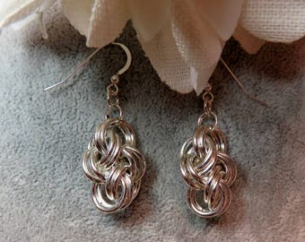Sterling Silver Cloud Cover Chainmaille Earrings
