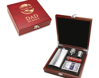 World's Best Dad Gaming & Hip Flask Gift Set - Boxed Playing Cards, Dice and Flask Set - Personalized Gift Idea for Dad - Laser Engraved Box
