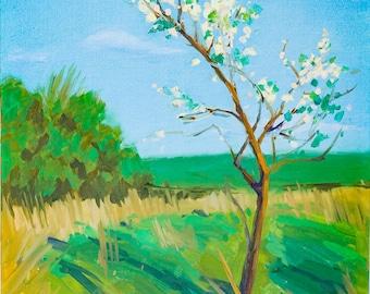 Original oil painting, Landscape, spring, blossoming tree, Original artwork handmade