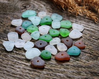 Drilled sea glass small seaglass with hole light blue sea glass for jewelry making supply glass beads handmade beads bulk charms bulk brown