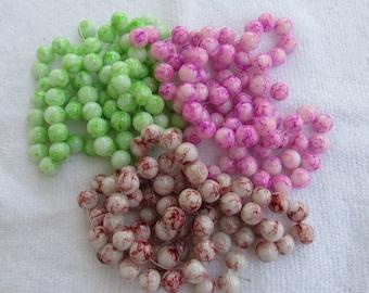 1 Strand 10mm Mottled Glass Round Beads (B147/230e)
