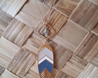Tahitian keshi and feather necklace