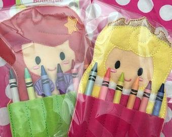 Crayon holder -blonde Princess(  includes crayons)