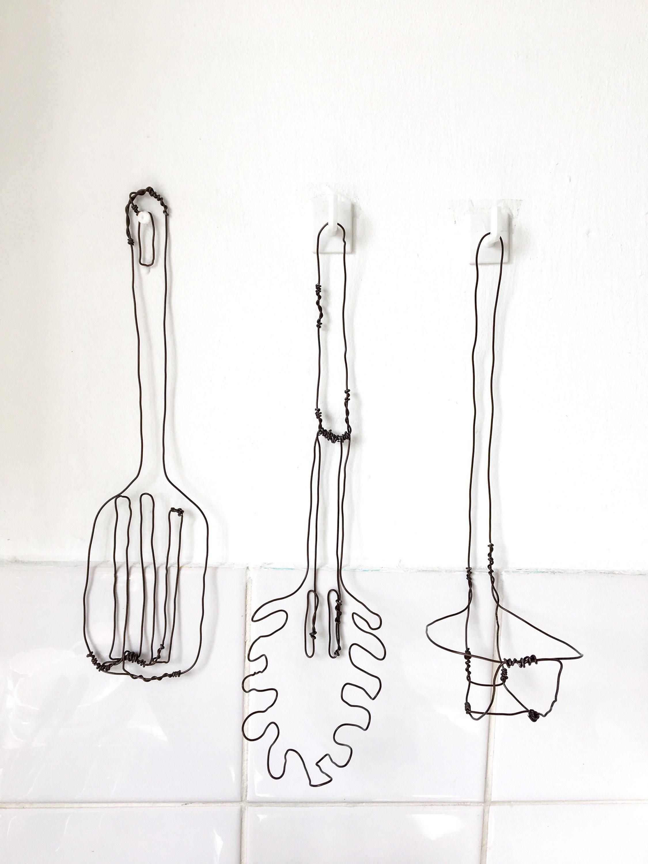 Wire Kitchen Wall Decor : Kitchen utensils wall art decor wire