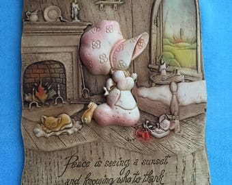 Vintage Holly Hobbie Prayer Inspirational Wall Plaque