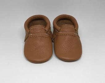 Baby Moccasins Light Brown Leather