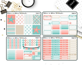 1192~~Coral & Turquoise Starfish Weekly Kit Planner Stickers.