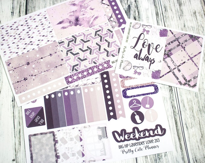BIG Happy Planner Planner Stickers - Weekly Planner Sticker Set - Happy Planner - Day Designer  - Lavender Love - Valentines Day Stickers