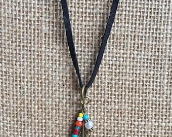 Feather necklace, leather necklace, long necklace