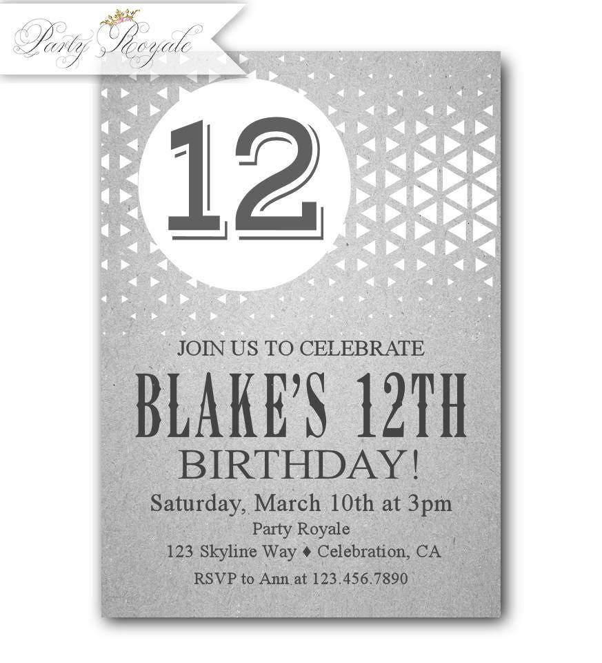 12th Birthday Invitations Boy, 12th Birthday Party Invitations ...