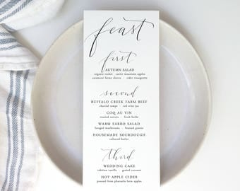 modern calligraphy menu | wedding menu | event menu | custom calligraphy