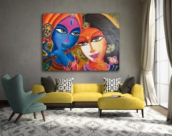 Radha Krishna Couple painting, Traditional Figurative art, Modern Wall art, Home Decor,