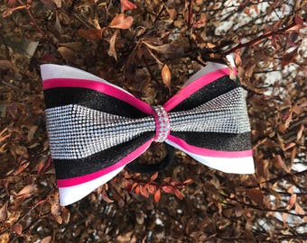 4in wide POP of color rhinestone tailess Cheer Bow!
