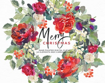 Merry Christmas - Watercolor Clipart. Perfect for the holidays. 14 Flowers/leaves, 2 flowers arrangements and a wreath.