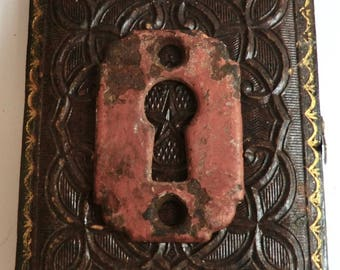 Vintage Rustic Keyhole Escutcheon Plate Great Color Assemblage Supply