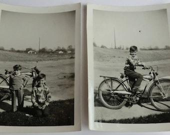 Two Vintage Photos Boys with Schwinn Cruiser Bike Bicycle & Boys Photo