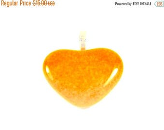 ON SALE Fused Glass Heart Pendant- Marigold- Gift for Her Pendant H2, jewelry, pendants,hearts