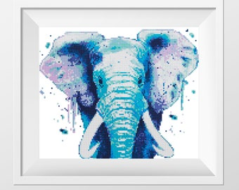 Cross Stitch Pattern Elephant Watercolor Animal Rainbow Wild Animal Modern Printable PDF Pattern Counted Safari Animal