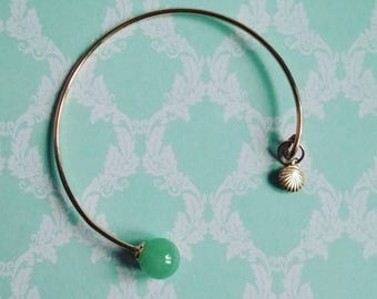 Bangle /pierres semi precious/aventurine/charm/shell/the Zelina jewelry