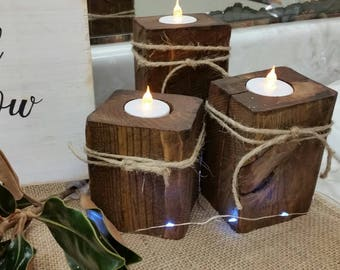 Wooden tealight candle holders rustic tealight candle holders cabin decor rustic decor farmhouse decor Christmas Decor Rustic Christmas Deco