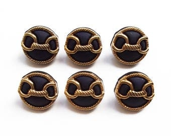 6 buttons round Navy Blue and gold 18 mm acrylic