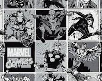 "Marvel Comics Avengers in b/w Squares by Camelot fabrics, 43-44"" wide, 100% cotton, by the half yard"