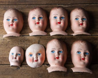 Set of 8 old antique cardboard head doll hand painted
