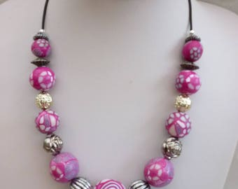 pink fuchsia necklace polymer clay handmade