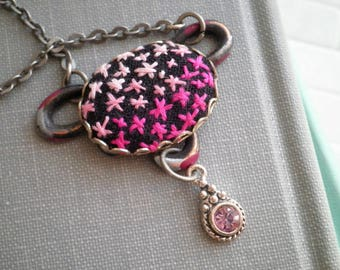 Pink Star Ombre Modern Embroidery Necklace - Embroidered Starry Night Sky Cosmic Starburst Outer Space Necklace  Boho Fiber Art Jewelry Gift