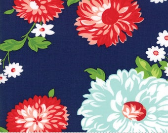 "Moda ""The Good Life"" by Bonnie and Camille ~ SCRUMPTIOUS ~ Navy 55150 16  ~ Large Floral ~ Half Yard Increments"