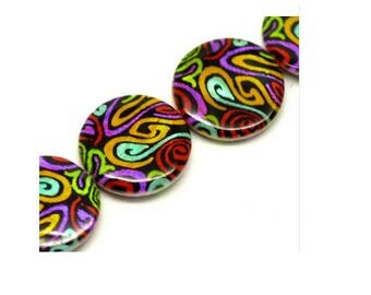 Pearl shell patterns swirl, 20 mm diameter, hole 1 mm, set of 2