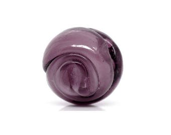 Set of 2 13 mm purple round glass beads