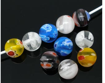 Set of 15 8 mm lampwork beads