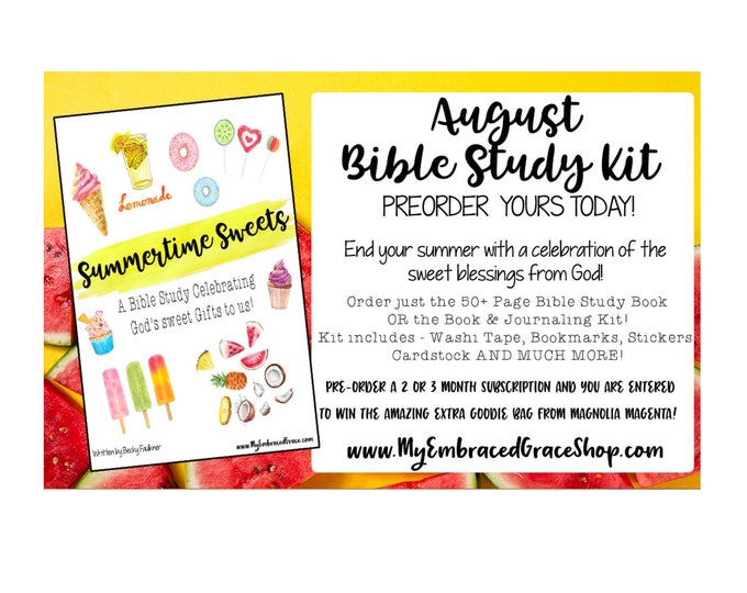 Summer Sweets- August Bible Study & Journaling Kit!, Bible Journaling, Scrapbooking, paper crafts, Christian study