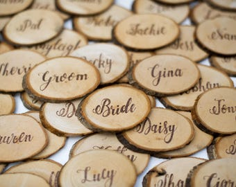 Wooden Slice Rustic Natural Wedding Favours - Place Settings Name Places