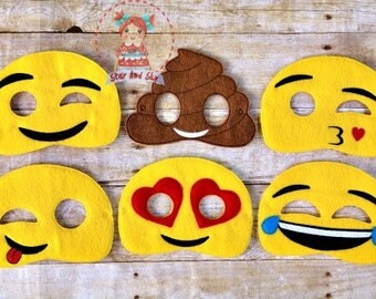 Emoji Inspired Masks Wink Poop Silly Laugh Kiss Love Emoticon Birthday Party Idea Play Costume