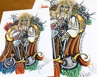 Stolen A4 & A5 digital prints goblin king Mythicalponez labyrinth fantasy pop surrealism bizarre fairytale baby illustration watercolour ink