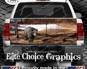 Black bear Truck Tailgate Wrap Vinyl Graphic Decal Sticker Wrap
