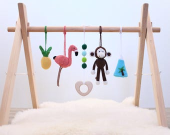 Baby play gym Tropical Adventure. Flamingo, Pineapple, Monkey Mountain. Activity center, gender neutral, wooden frame, crochet baby gym toys