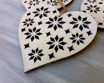 Big Heart Ornament,Hanging Ornament,Big Heart Decor,Wooden Heart,Wooden Ornament,Hanging Heart Decor,Home Decor,Christmas Decor,Set of 3