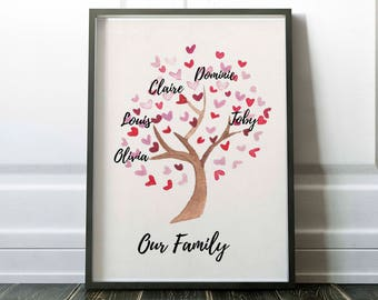 Family tree printable, family tree print, custom family tree, family tree wall art, printable mothers day gift, little tiger designs, family