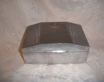 NICKEL SILVER CHROME  Wood Lined Cigarette Box (Made in England)
