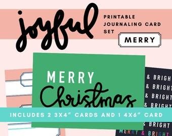 Joyful Printable Journaling Card Set - Merry