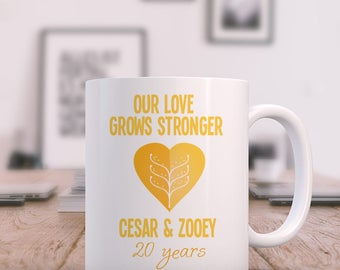 Our Love Grows Stronger 20 Years Beautiful Personalized Mug